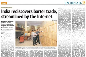 LiveMint - India rediscovers barter trade, streamlined by the Internet