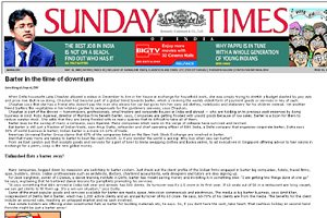 Sunday Times of India - Barter in the time of downturn