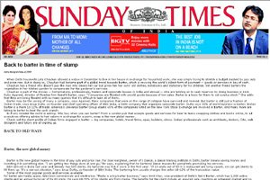 Sunday Times of India - Back to barter in time of slump