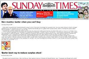 Sunday Times of India - New mantra: Barter when you can't buy